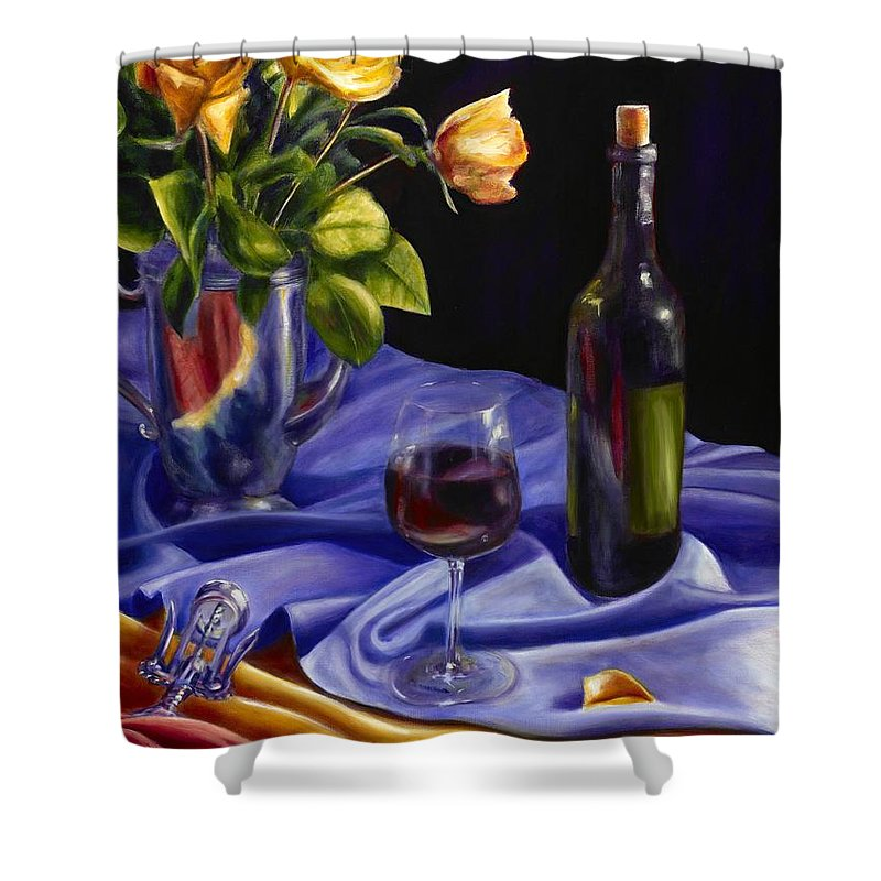 Still Life Shower Curtain featuring the painting Private Label by Shannon Grissom