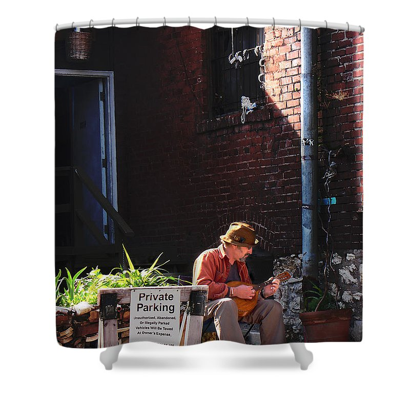 City Scape Shower Curtain featuring the photograph Private Parking by Steve Karol