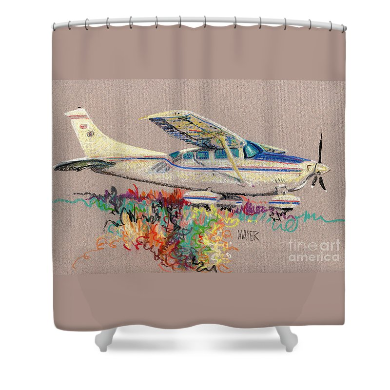 Small Plane Shower Curtain featuring the drawing Private Plane by Donald Maier
