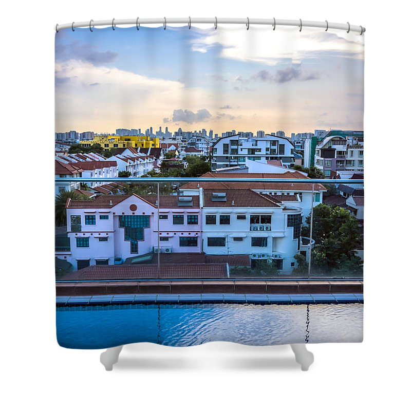 Apartment Shower Curtain featuring the photograph Private Pool 3 by Jijo George