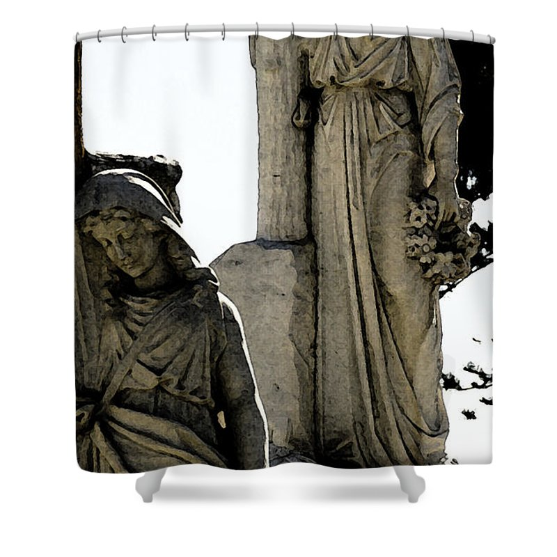 Cross Shower Curtain featuring the photograph Procession Of Faith by Linda Shafer