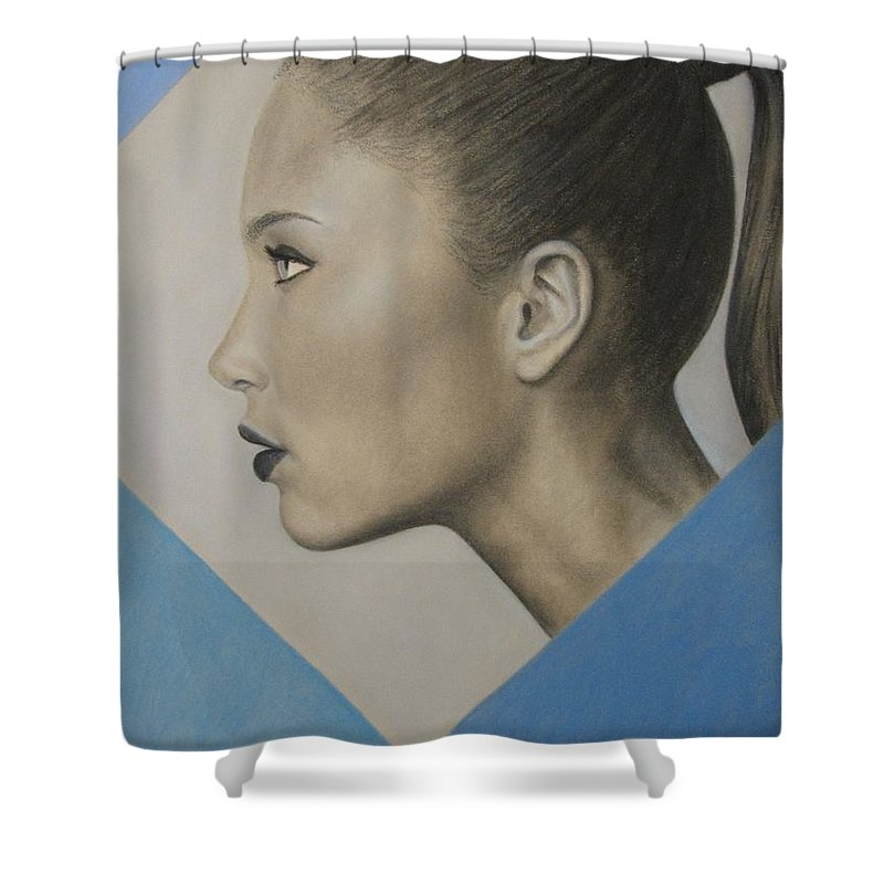 Woman Shower Curtain featuring the painting Profile by Lynet McDonald