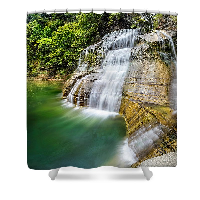 New York Shower Curtain featuring the photograph Profile Of The Lower Falls At Enfield Glen by Karen Jorstad