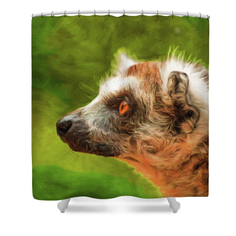Adorable Shower Curtain featuring the painting Profile Portrait Of Ring-tailed Lemur by Miroslav Liska