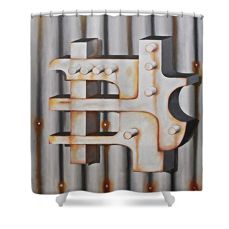 Objects Shower Curtain featuring the painting Project Object Series by John Stuart Webbstock