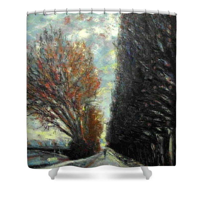Landscape Shower Curtain featuring the painting Promenade by Walter Casaravilla