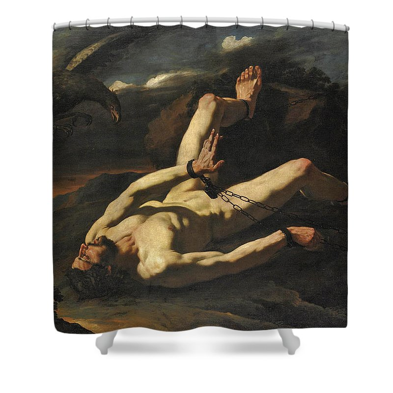 Cesare Fracanzano Shower Curtain featuring the painting Prometheus Bound by Cesare Fracanzano