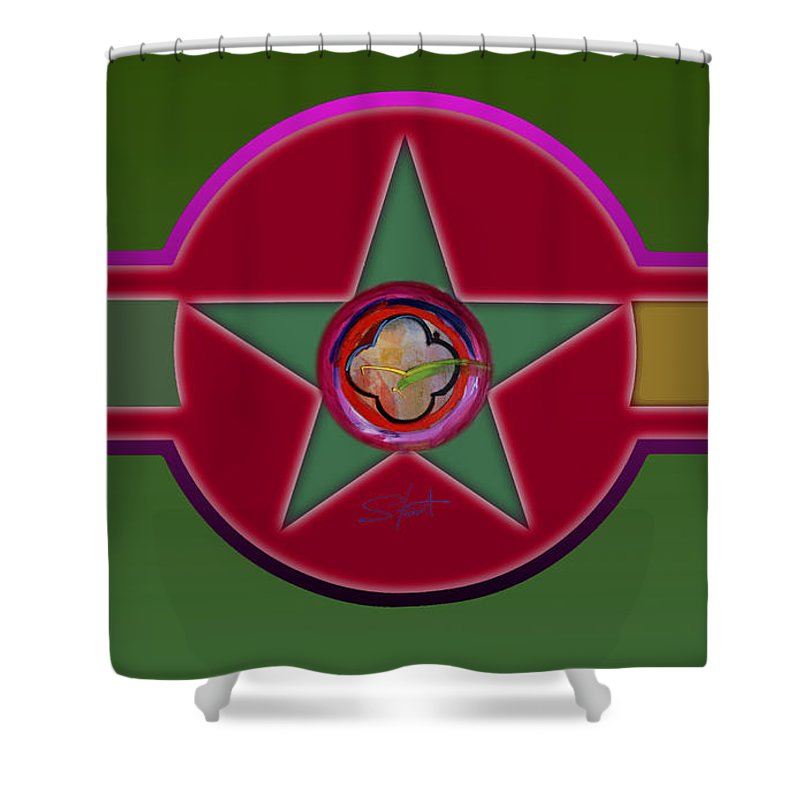 Insignia Shower Curtain featuring the painting Promised Landscape by Charles Stuart