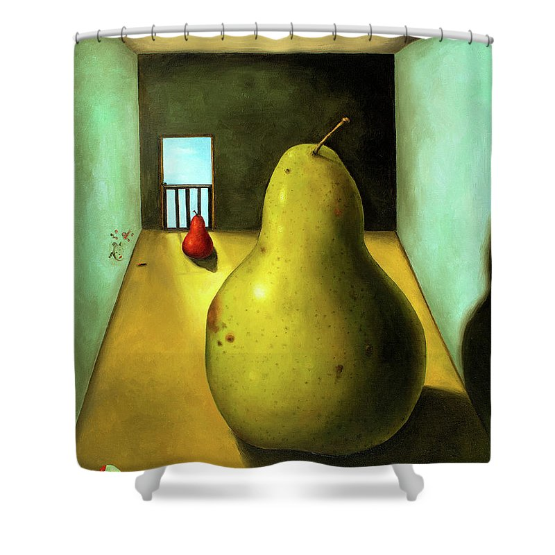 Pear Shower Curtain featuring the painting Protecting Baby 8 The Safety Gate by Leah Saulnier The Painting Maniac