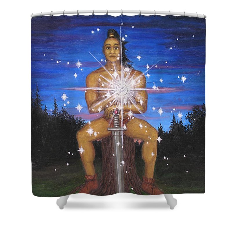 Fantasy Shower Curtain featuring the painting Protector Of The Mystical Forest by Roz Eve
