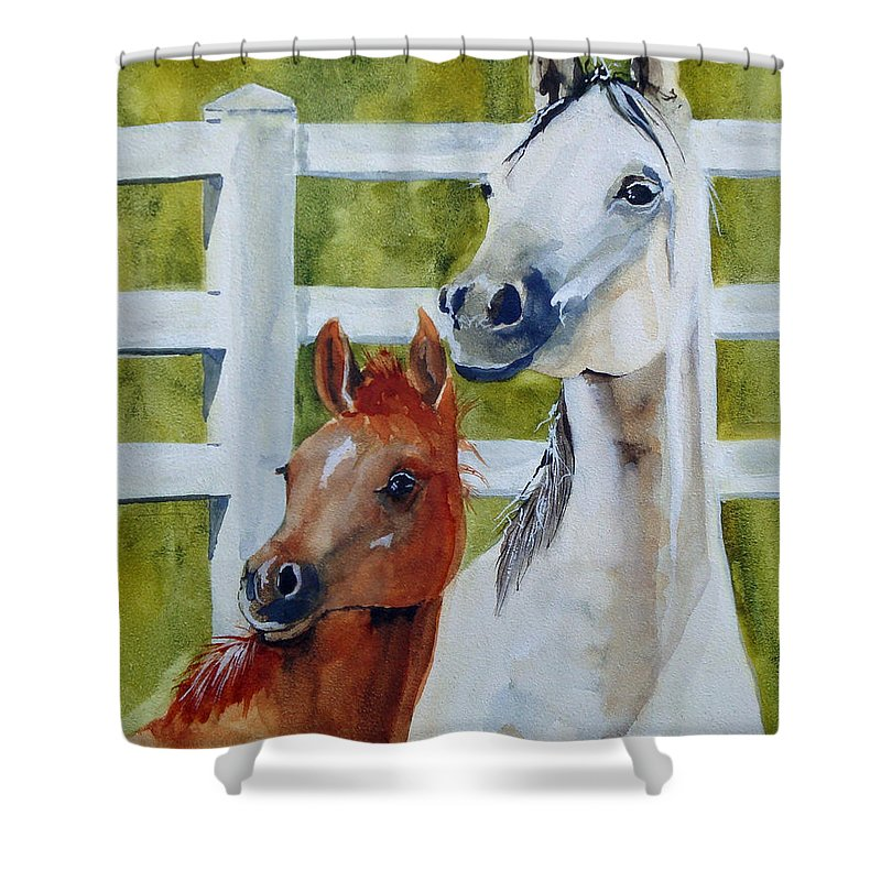 Equine Shower Curtain featuring the painting Proud Mama by Jean Blackmer