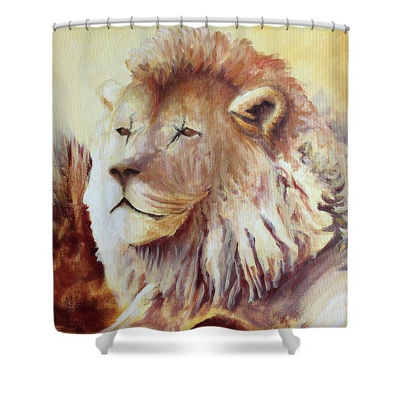 Animal Shower Curtain featuring the painting Proud by Todd Blanchard