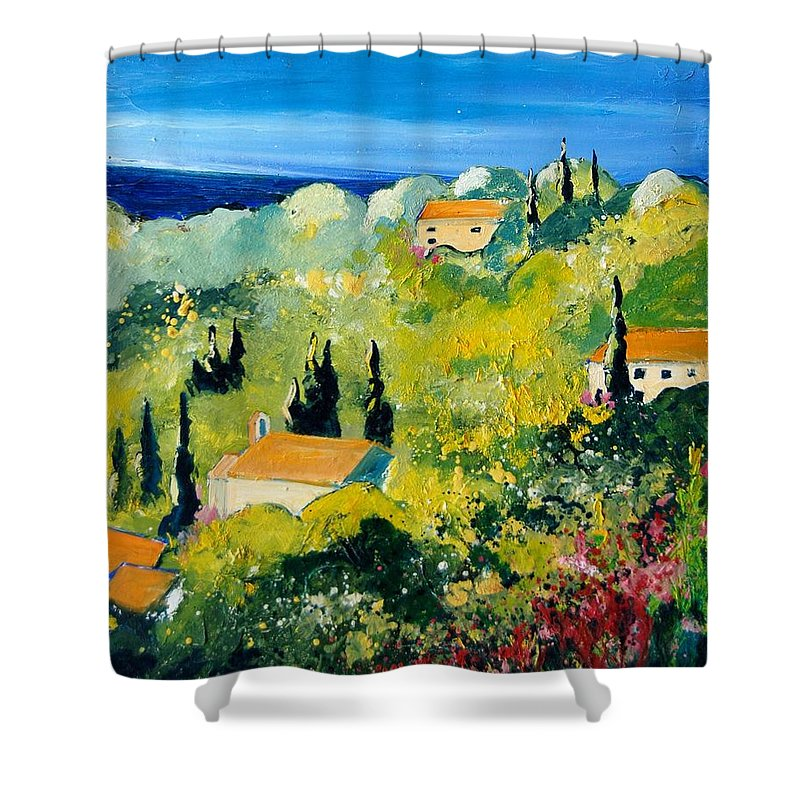 Village Shower Curtain featuring the painting Provence 459070 by Pol Ledent