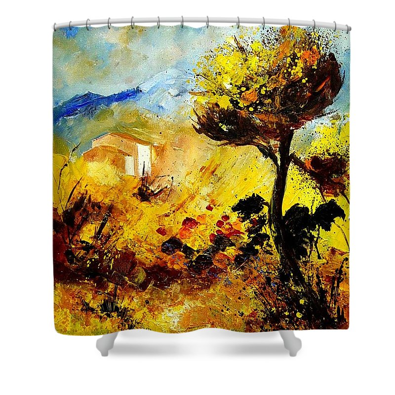 Flowers Shower Curtain featuring the painting Provence 56 by Pol Ledent