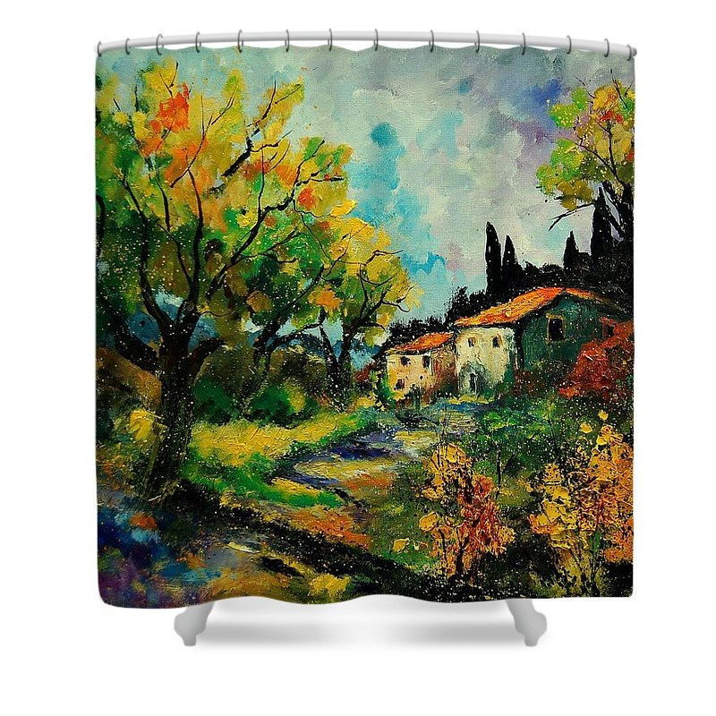 Landscape Shower Curtain featuring the painting Provence 670110 by Pol Ledent