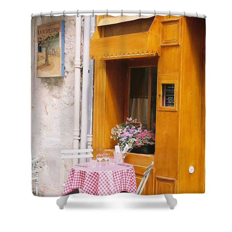 Cafe Shower Curtain featuring the photograph Provence Cafe by Nadine Rippelmeyer
