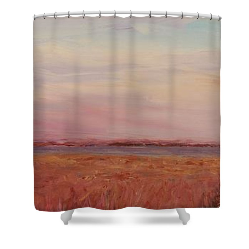 Landscape Shower Curtain featuring the painting Provence Camargue by Nadine Rippelmeyer