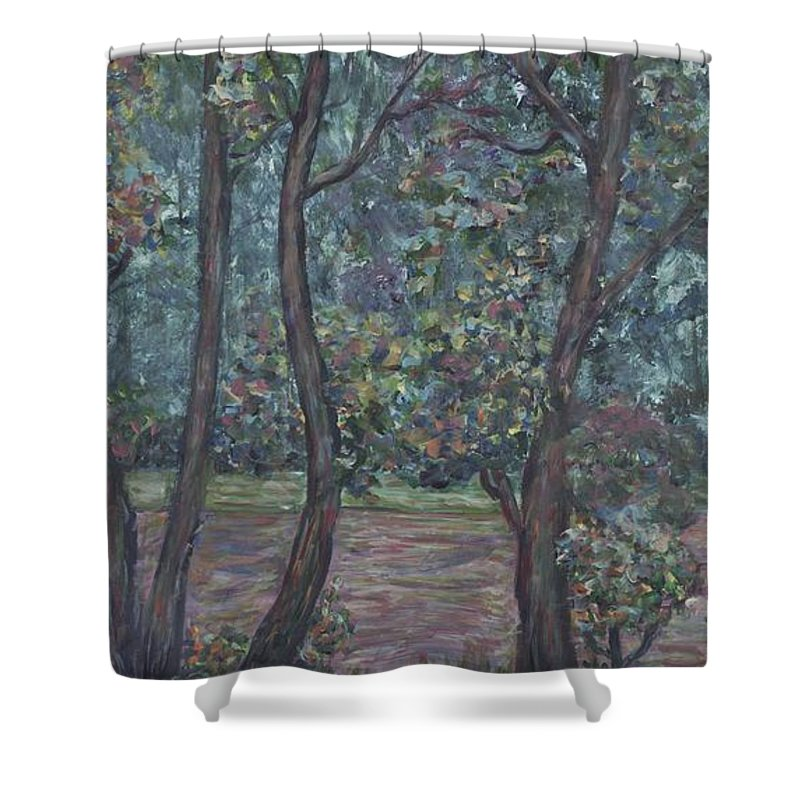 Landscape Shower Curtain featuring the painting Provence Flowers by Nadine Rippelmeyer