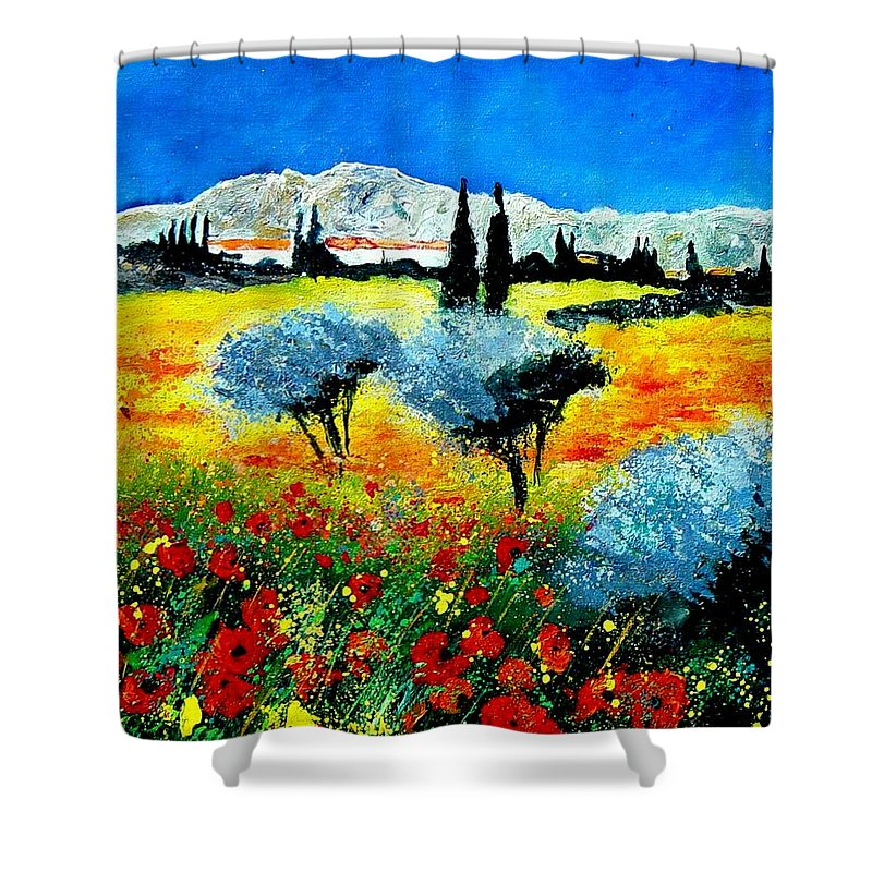 Poppies Shower Curtain featuring the painting Provence by Pol Ledent