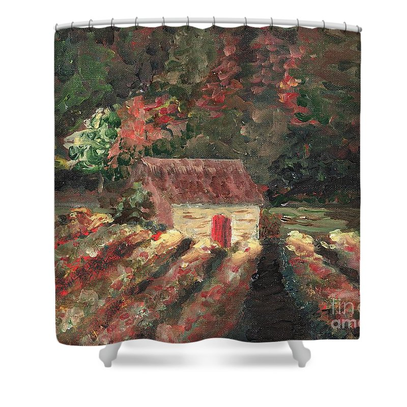 Landscape Shower Curtain featuring the painting Provence Vineyard by Nadine Rippelmeyer