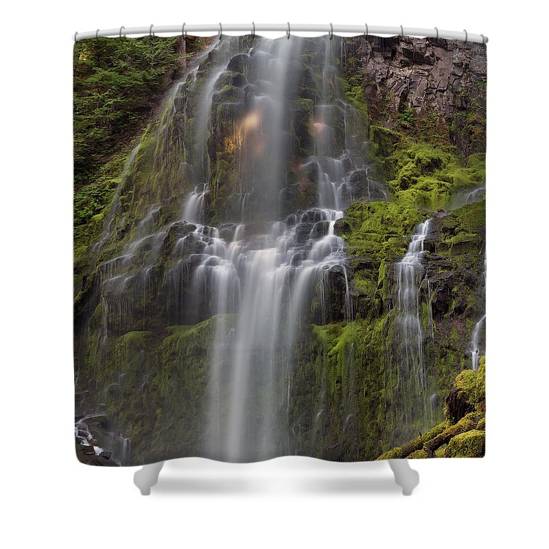Calm Shower Curtain featuring the photograph Proxy Falls In Warm Light by Leland D Howard