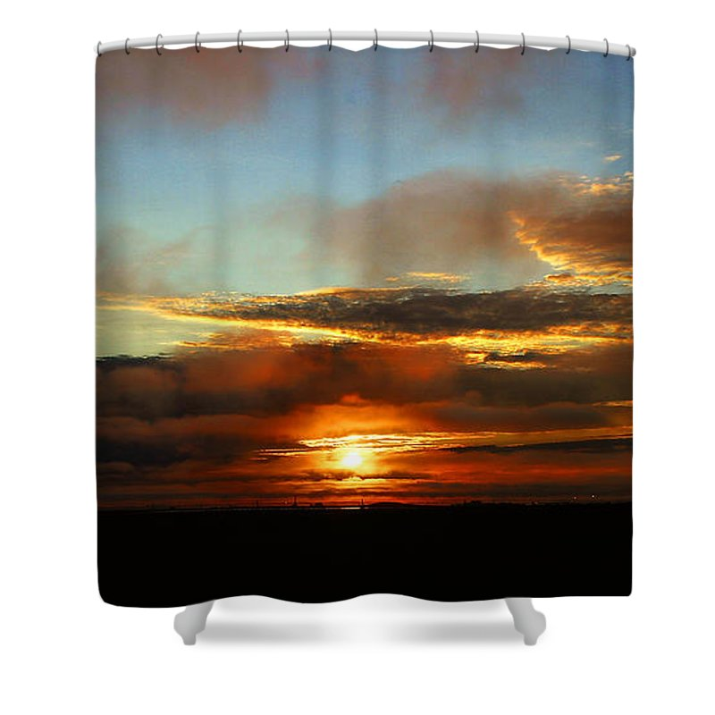 Sunset Shower Curtain featuring the photograph Prudhoe Bay Sunset by Anthony Jones