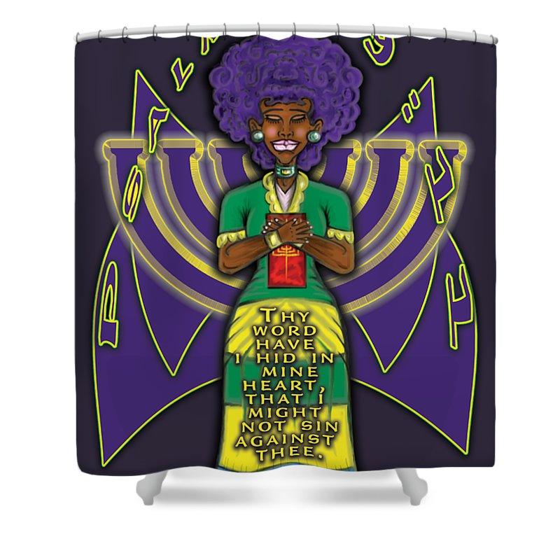 Israelite Shower Curtain featuring the digital art Psalm 119vs11 Thy Word by Robert Watson