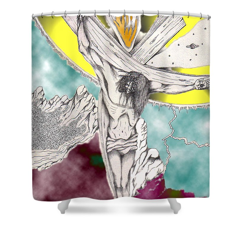 Spiritual Shower Curtain featuring the digital art Psalm 22 Ch 13-15... by Marco Morales