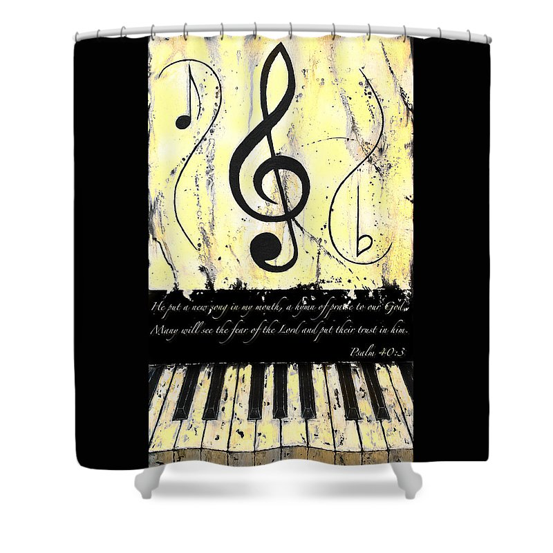 Psalm 40/3 Yellow Shower Curtain featuring the mixed media Psalm 40/3 Yellow by Wayne Cantrell