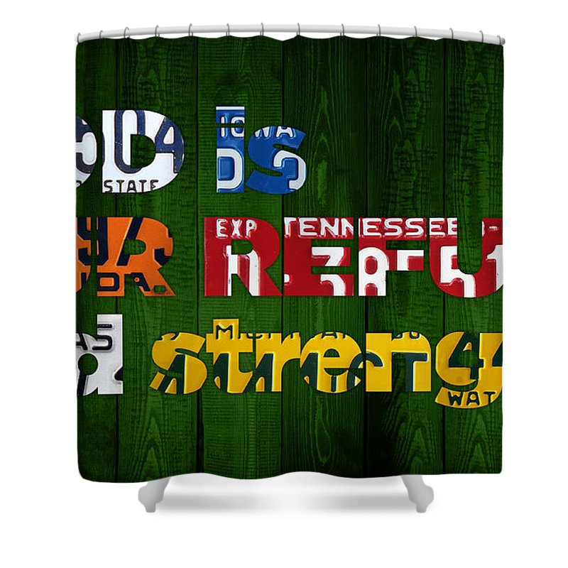 Psalm Shower Curtain Featuring The Mixed Media 46 1 God Is Our Refuge And Strength