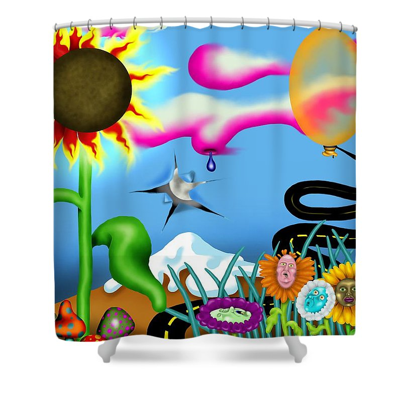 Surrealism Shower Curtain featuring the digital art Psychedelic Dreamscape I by Robert Morin