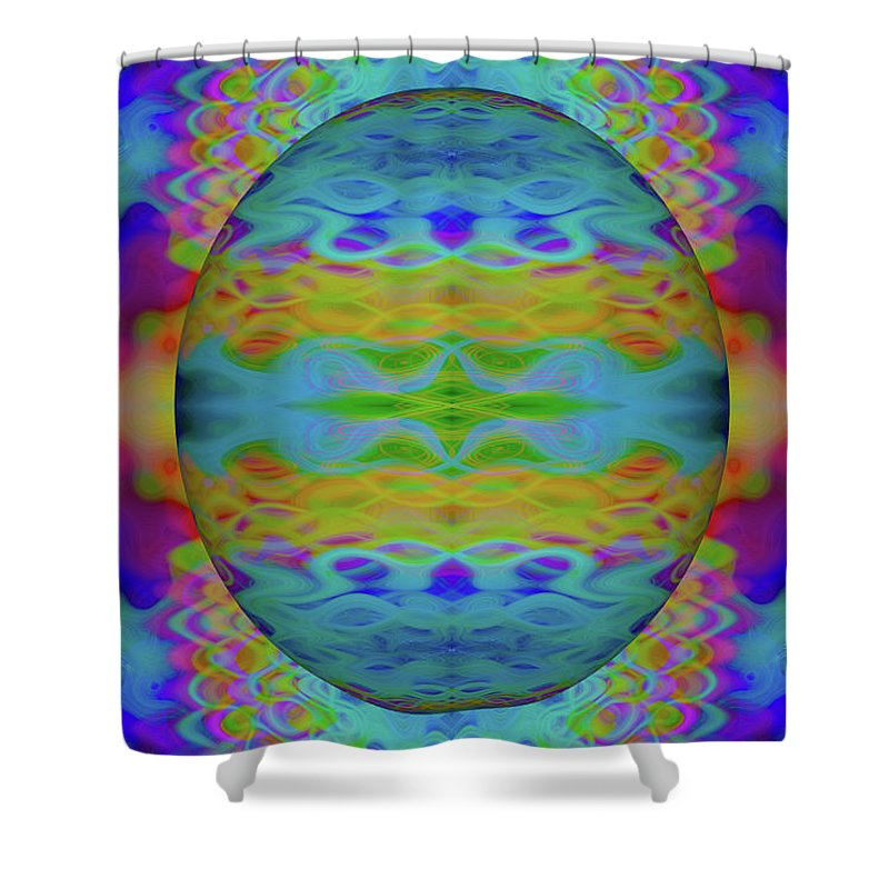 Blue Shower Curtain featuring the photograph Psychedelic Egg Groovy by Chellie Bock