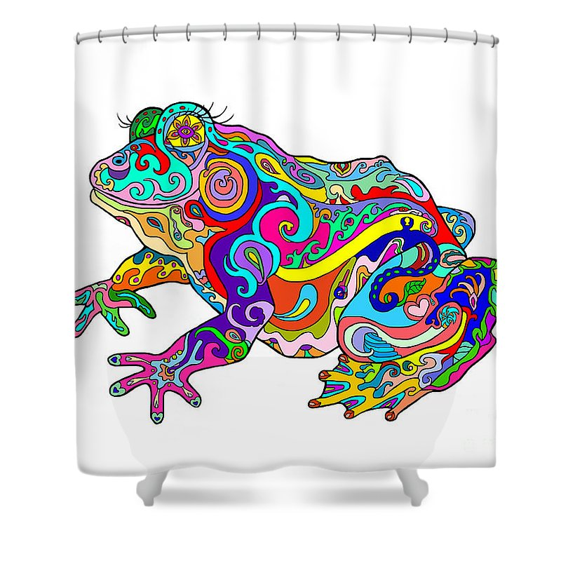 Frog Shower Curtain Featuring The Digital Art Psychedelic By Deborah Camp