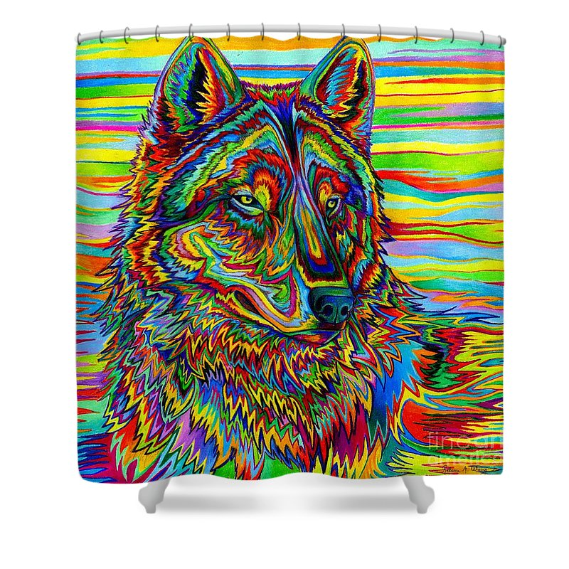 Psychedelic Wolf Shower Curtain For Sale By Rebecca Wang