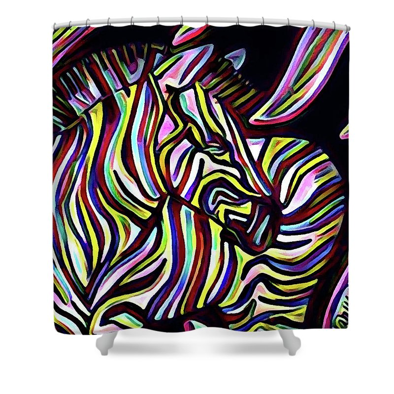 Psychedelic Rad Beautiful Colorful Safari African Animal Animals Zebra Wildlife Abstract Stripes Shower Curtain Featuring The