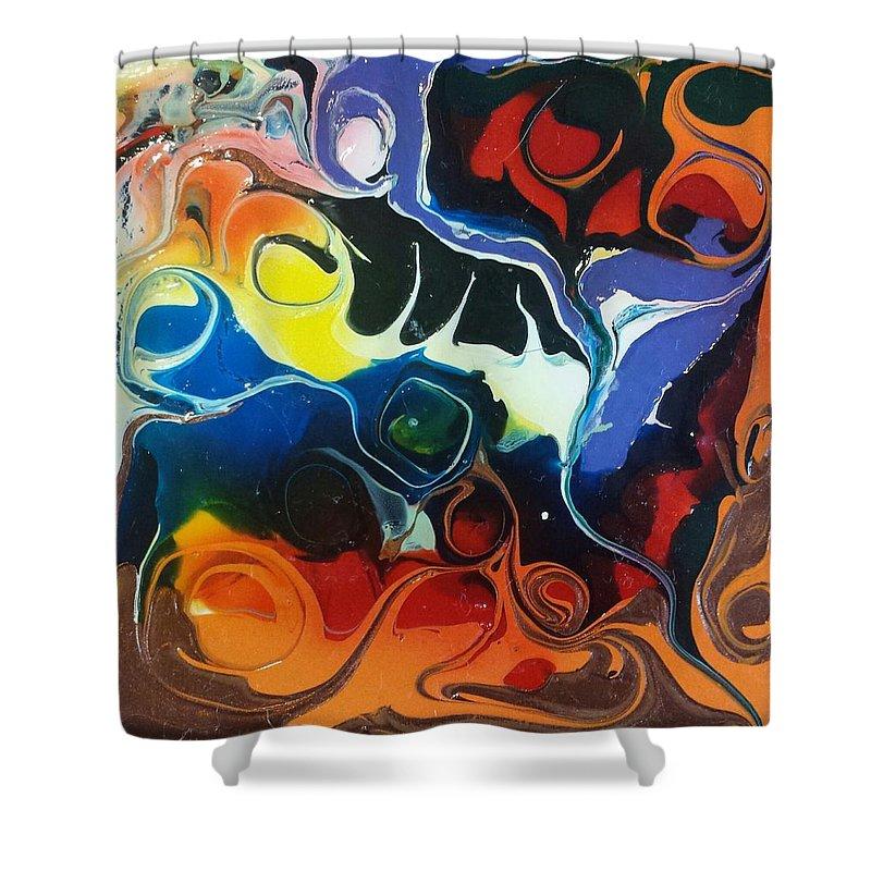 Abstract Shower Curtain featuring the painting Psychedelica #1 by Erika Avery