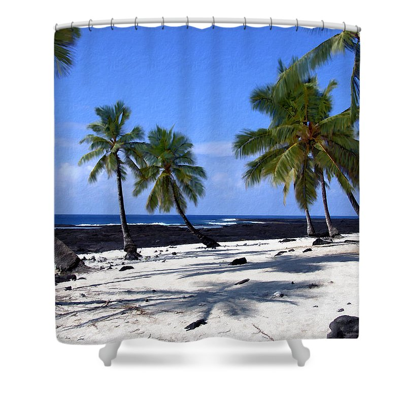 Hawaii Shower Curtain featuring the photograph Pu Uhonua O Honaunau by Kurt Van Wagner