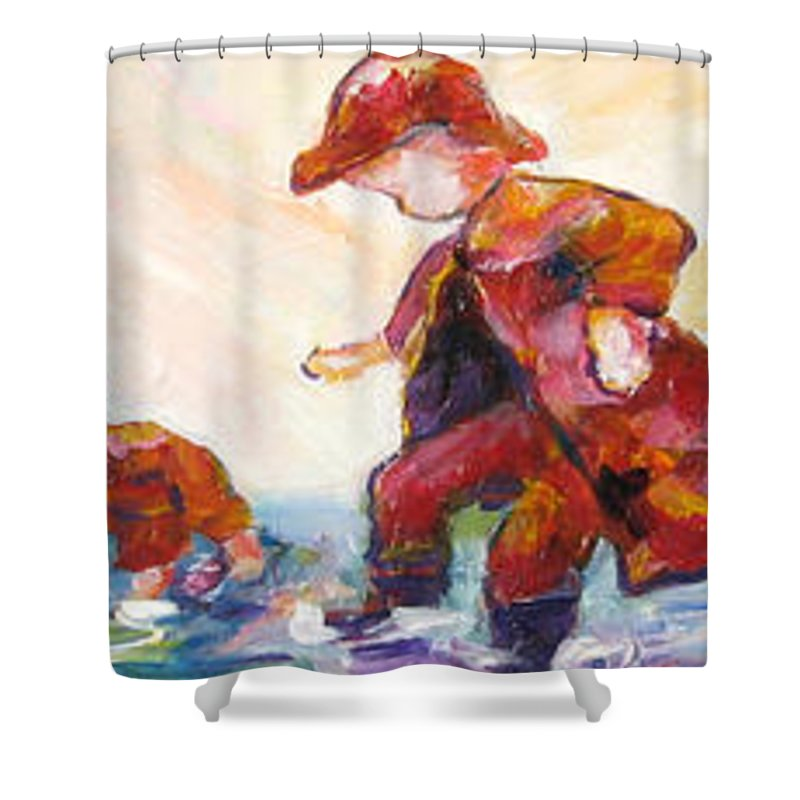 Mothers And Children Bonding Shower Curtain featuring the mixed media Puddle Jumpers by Naomi Gerrard