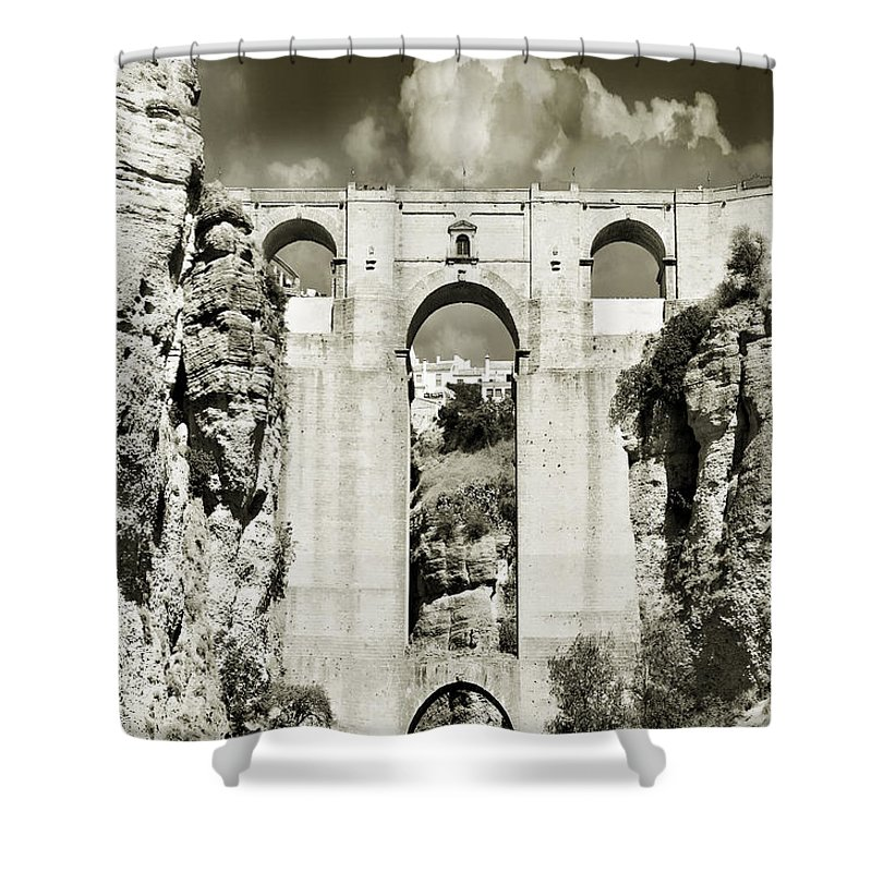 Bridge Shower Curtain featuring the photograph Puente Nuevo Tajo De Ronda Andalucia Spain Europe by Mal Bray
