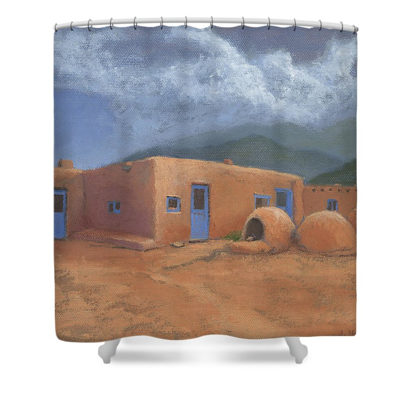 Taos Shower Curtain featuring the painting Puertas Azul by Jerry McElroy