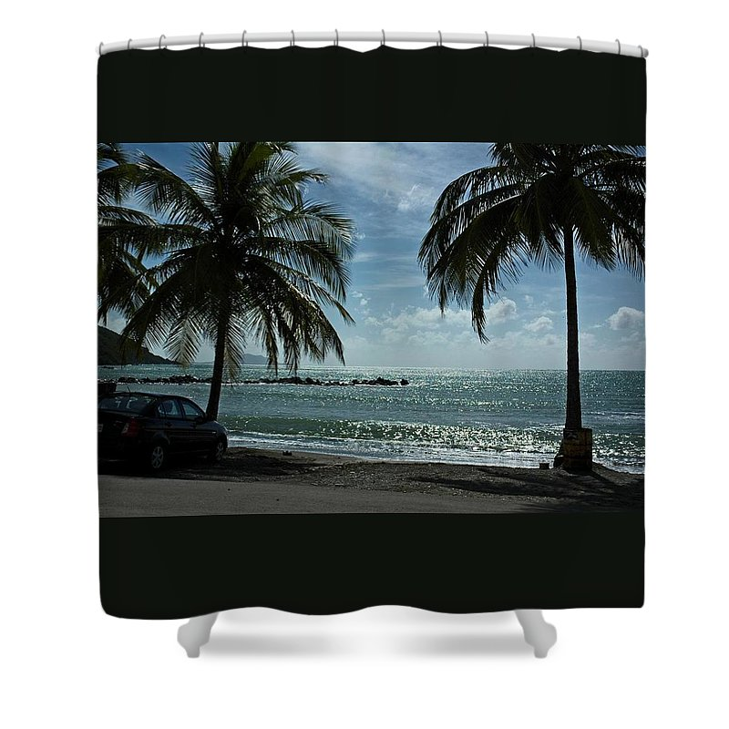 Landscape Shower Curtain featuring the photograph Puerto Rican Beach by Tito Santiago