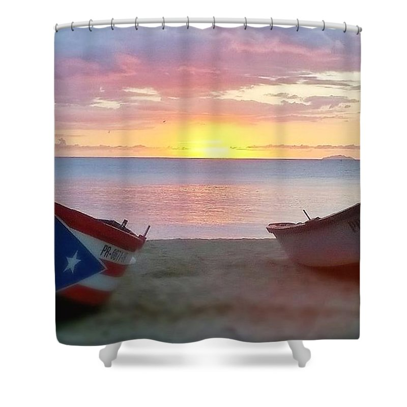 Sunset.seascape Shower Curtain featuring the photograph Puerto Rico Sunset On The Beach by Sheryl Chapman Photography