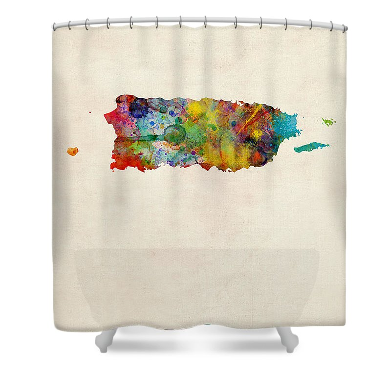 United States Map Shower Curtain Featuring The Digital Art Puerto Rico Watercolor By Michael Tompsett