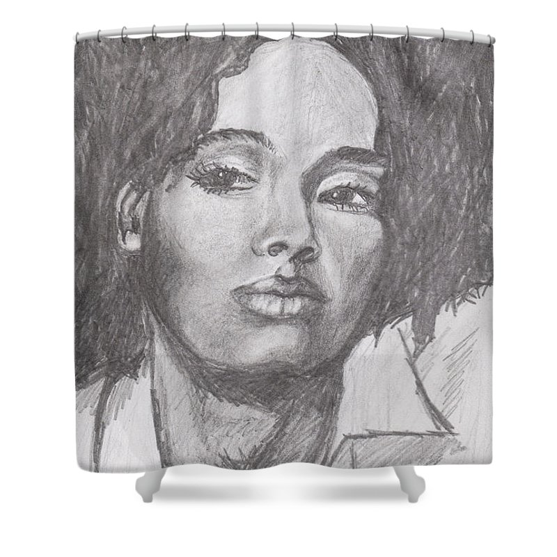 Woman Shower Curtain featuring the drawing Puffs by Jean Haynes