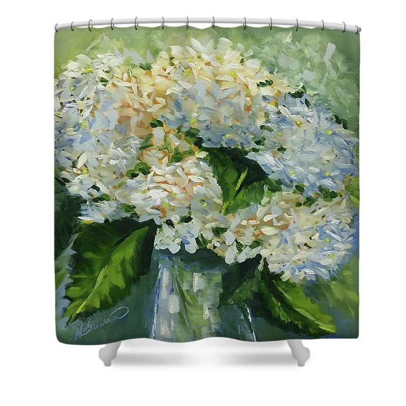 Hydrangea Shower Curtain featuring the painting Puffy by Nancy Breiman