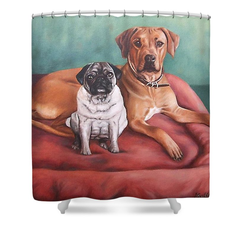 Dogs Shower Curtain featuring the painting Pug And Rhodesian Ridgeback by Nicole Zeug