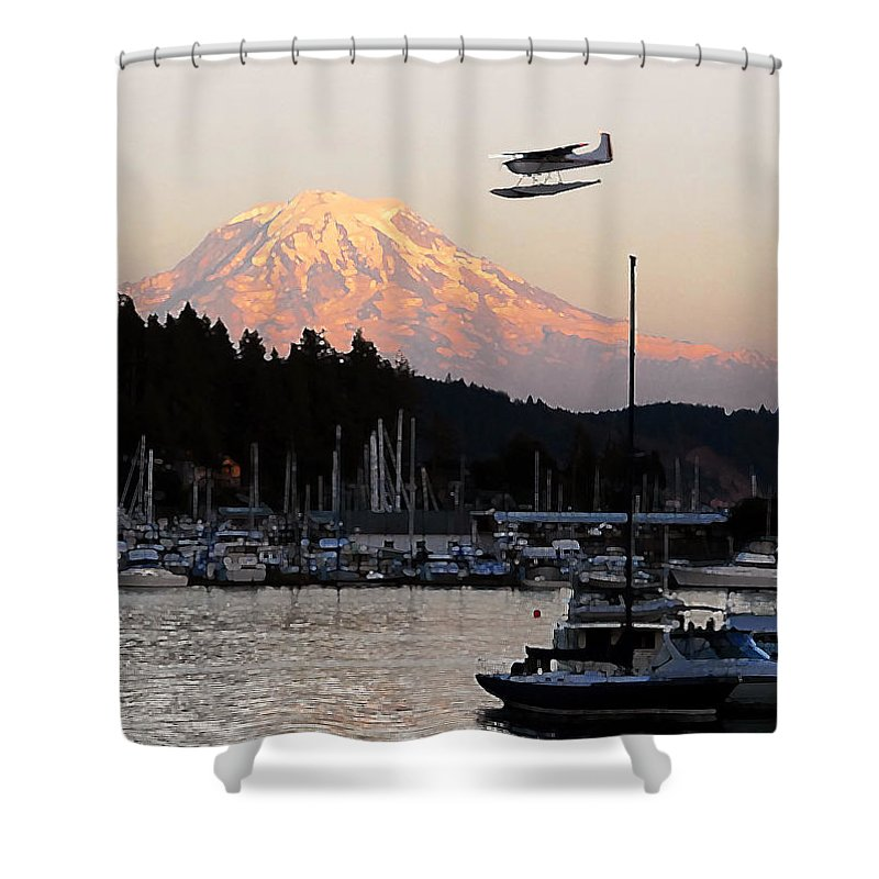 Puget Sound Shower Curtain featuring the photograph Puget Sound Landing by David Lee Thompson