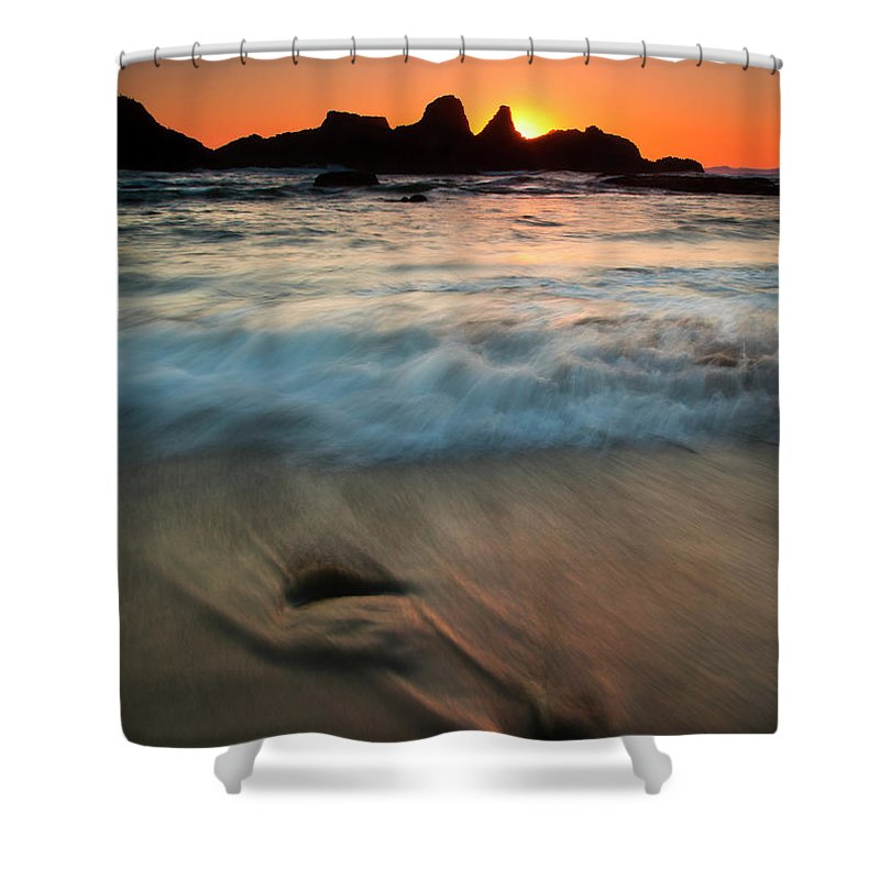 Seal Rock Shower Curtain featuring the photograph Pulled By The Tides by Mike Dawson