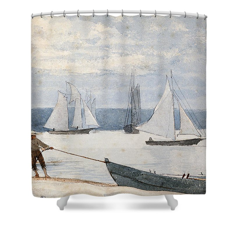 Man Shower Curtain featuring the painting Pulling the Dory by Winslow Homer