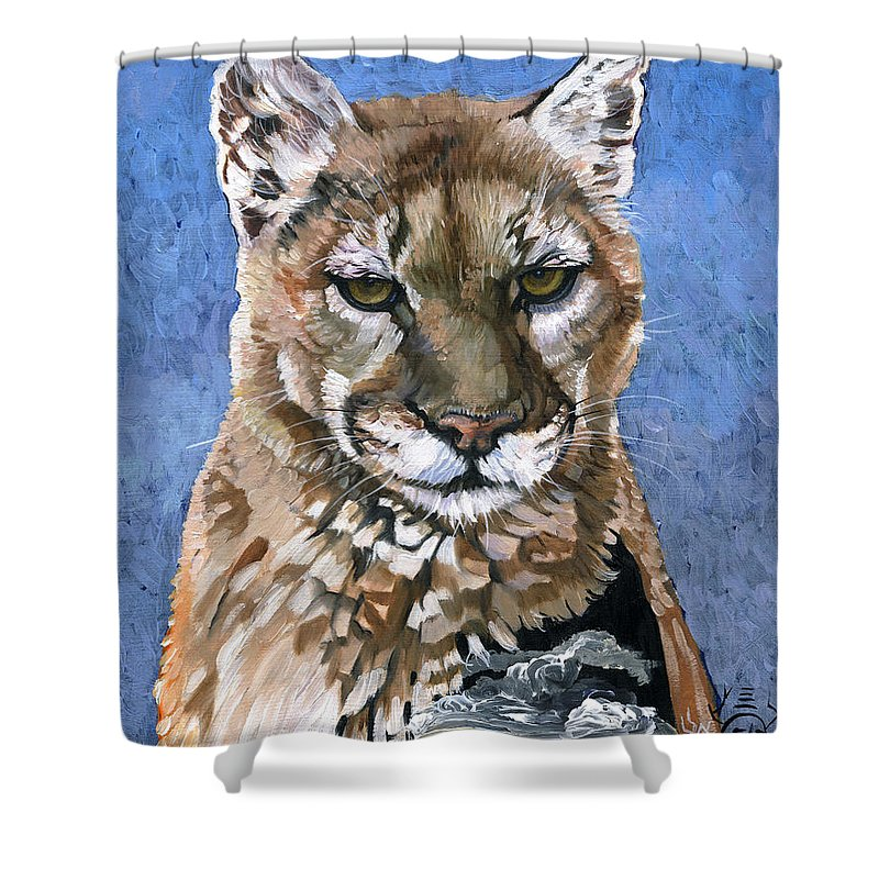 Puma Shower Curtain featuring the painting Puma - The Hunter by J W Baker